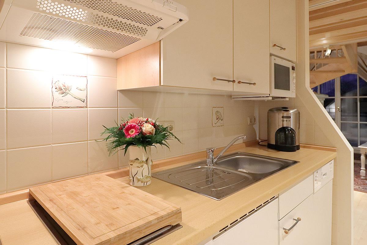 Küchenbereich, Kapitänssuite, Hotel Fischerwiege