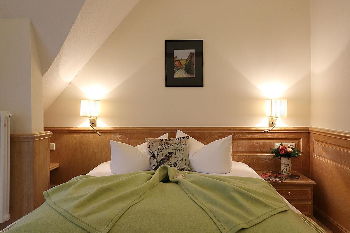 Schlafbereich in Einzelzimmer, Hotel Fischerwiege