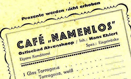 Cafè Namenlos, historische Getränkekarte