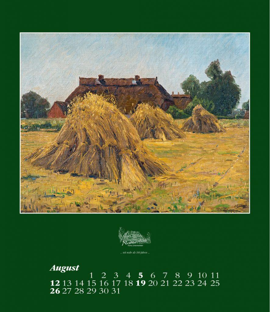 Kunstkalender 2018 Friedrich Wachenhusen, August