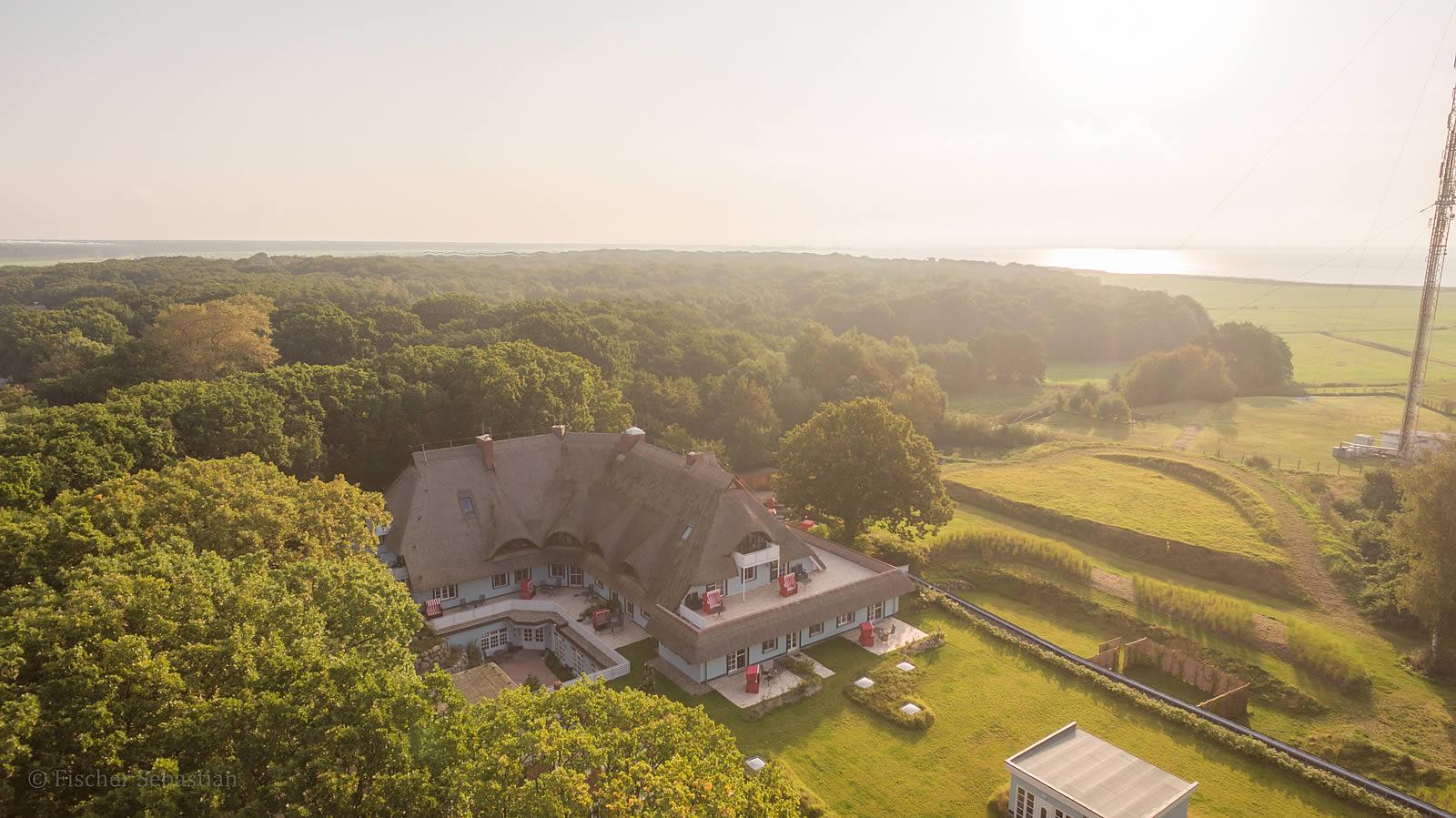 Hotel Fischerwiege, Blick zum Bodden, Frühherbst 2017