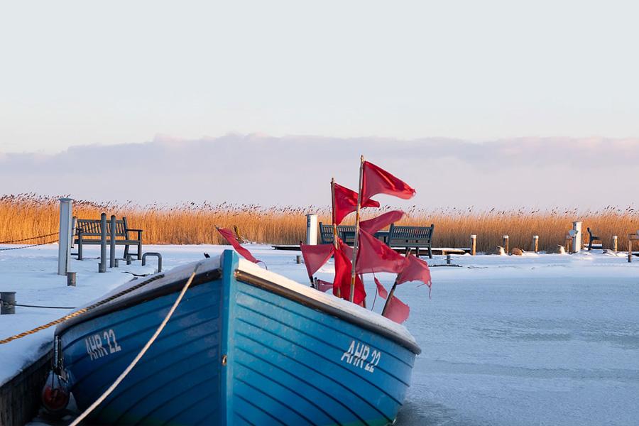 Fischerboot mit roten Fahnen im vereisten, winterlichen Hafen von Althagen