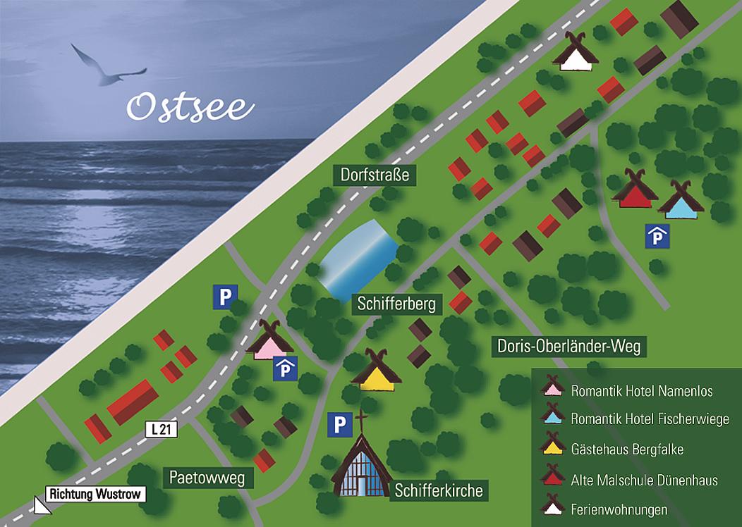Karte, Lage der Hotels und Ferienwohnungen in Ahrenshoop