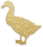 kleine, goldene Gans, symbolisiert traditionellen Gänsebraten